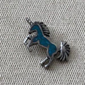 Vintage Sterling Silver Turquoise Unicorn Pendant